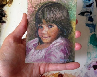 Little Girl Child Portait Impish Grin Original Watercolor Children Belinda DelPesco
