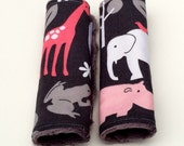 Carseat Strap Covers - Reversible - Zoology in Bloom with Gray Minky