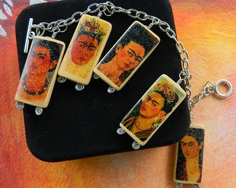 Day of the Dead Jewelry – Frida Kahlo Portraits – Charm Bracelet with Altered Bamboo Beads by Artist Cindy Couling