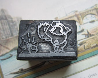 Vintage Letterpress Printers Block Man With an Alarm Clock
