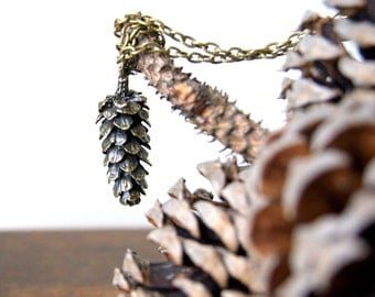 Large Woodland Pinecone Necklace - antiqued bronze pine cone necklace  - Pine cone Pendant - Woodland Jewelry - Rustic Jewelry - boho chic