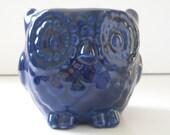 Ceramic Mini Owl Desk Planter Vintage Design in Navy Blue Succulent Cactus Container Pot