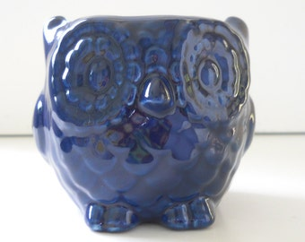 Owl Planter, Ceramic, Mini Owl, Desk Planter, Vintage Design, Navy Blue, Succulent Pot, Cactus Planter, Candle Holder, Owl Pot, Bird Planter