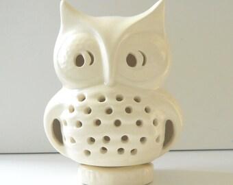 Ceramic Owl Lantern Vintage Design White Owl Candle Lamp Cone Incense Burner