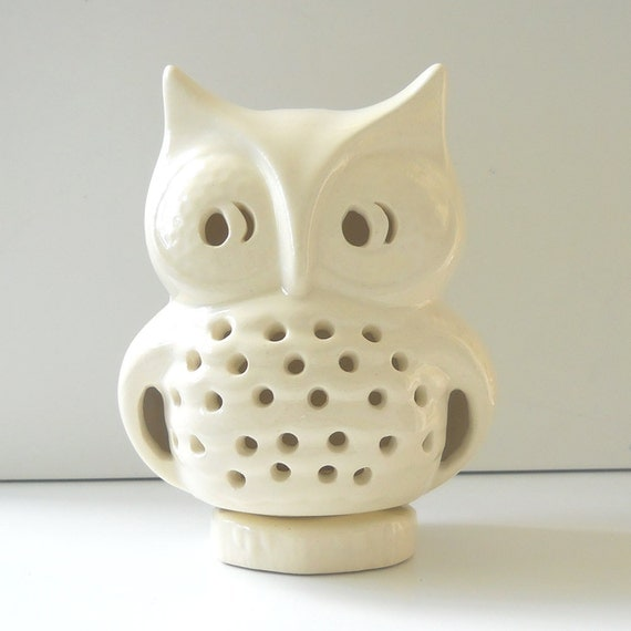 Ceramic Owl Lantern Vintage Design White Owl Candle Lamp Cone Incense Burner