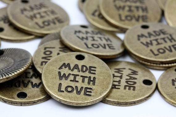 10 pcs Round Antique Bronze Coin Medallion Shape - Made with Love Charm Tag Pendant