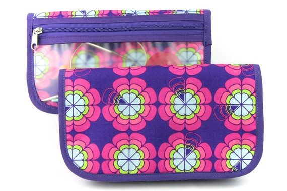 Travel or Super Size Zip Around Knitting Needle Organizer - Love Me Knot - purple pockets