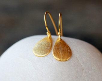 Gold Teardrop Earrings, Everyday Sparkle Earrings, Gold Vermeil Curved Drops, Sparkly Metal Earrings, Brushed Metal Earrings