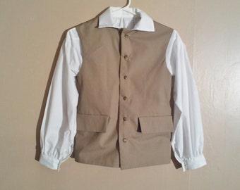 Boys Colonial Waistcoat, 18th Century Vest Costume