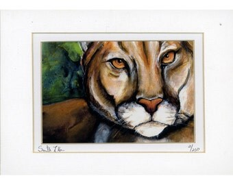 Cougar Mountain Lion Watercolor painting print Number