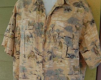 Vintage 80s African Safari Zebra Print Oversize Boxy Baggy Short Sleeve Cropped Camp Shirt Size SMLXL