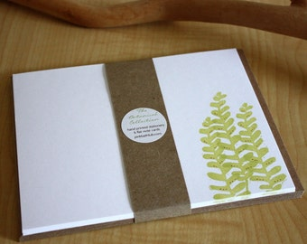 Fern Trio - Fern Note Cards - Fern Leaf Stationery - New Botanical Collection - Hand Printed Stationery - Set of 6