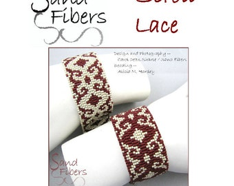 Peyote Pattern - Scroll Lace Peyote Cuff / Bracelet  - A Sand Fibers For Personal/Commercial Use PDF Pattern