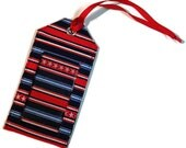 Fabric Luggage Tag Red White and Blue Stripe Badge holder, travel identification, bag tag