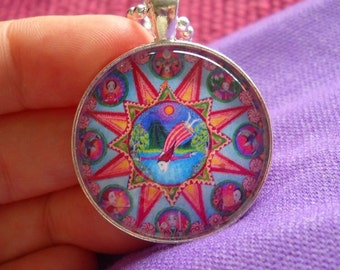 Aries Mandala Art Necklace astrology jewelery zodiac pendant  April birthday gift for friend Glass Tile Vintage Silver Plated Setting