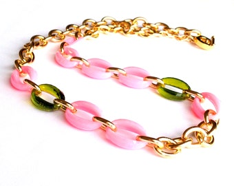 Statement Necklace Pink, Forest Green, and Gold Link Chain Necklace or Three Layered Stacking Bracelet Made with Vintage Links