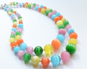 CLEARANCE- The Claudia- Pastel Cat Eye Statement Necklace