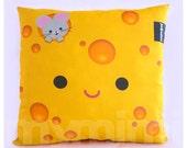 """12 x 12"""" Yellow Pillow, Cheese Pillow, Food Pillow, Cotton Pillow, Children's Throw Pillow, Kawaii, Kids Cushion, Room Decor, Dorm Decor"""