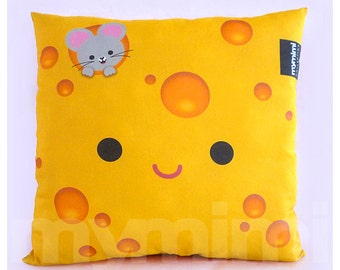 "12 x 12"" Yellow Pillow, Cheese Pillow, Food Pillow, Cotton Pillow, Children's Throw Pillow, Kawaii, Kids Cushion, Room Decor, Dorm Decor"