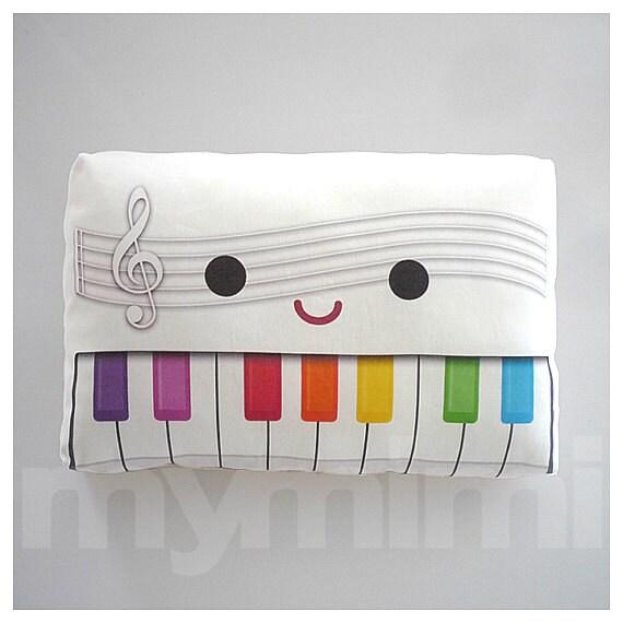 "White Pillow, Decorative Pillow, Piano Pillow, Music Pillow, White Piano, Music Themed Decor, Toy Pillow, Rainbow Pillow, 9 x 6"""