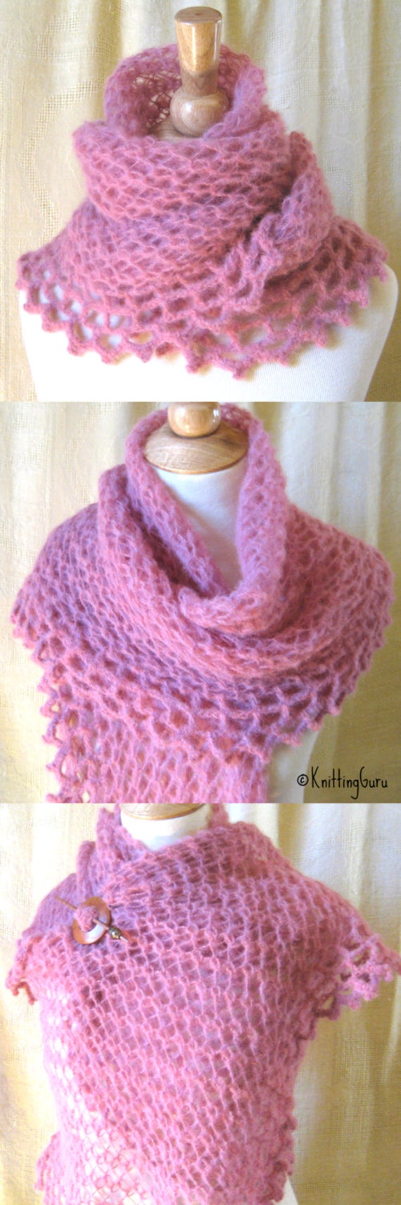 Hand Knitted Alpaca Shawl Wrap with Crocheted Lace Edge - Whispery Soft Pink