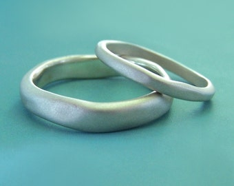River Wedding Ring - Matte Finished Recycled Sterling Silver - Choose a Custom Width