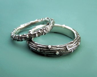 Two Sterling Silver Twig Wedding Rings - Recycled Sterling Silver - Pine Branch
