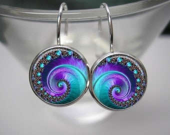 Deep Blue Ocean Fractal - 12mm Leverback Drop Earrings in Shiny Silver - Matching Pendant and Chain Available