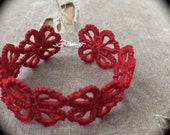 Tatted Cuff Bracelet - Hearts and Clovers - Red