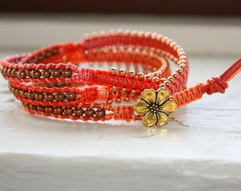 Flower and Butterfly Wrap Bracelet - Triple Leather Wrap Bead Bracelet - Red Pink Orange