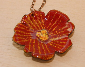 Pretty Posy Necklace - Enameled Copper Jewelry - Flower Necklace - Red and Yellow - Millefiori - Sgraffito