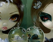 Faces of Faery Black and White Swans Set of 2 art prints by Jasmine Becket-Griffith 6x6 black swan ballet 201 193