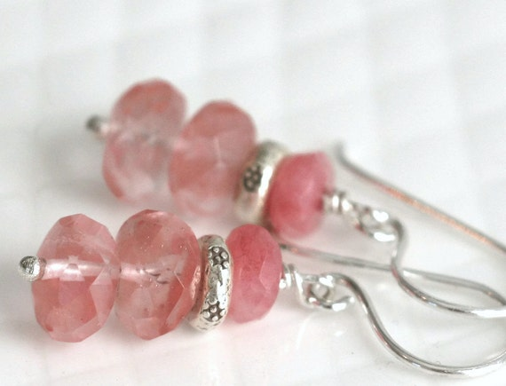 Strawberry Drop    Quartz Sterling and Hill Tribe Silver Dangle Earrings