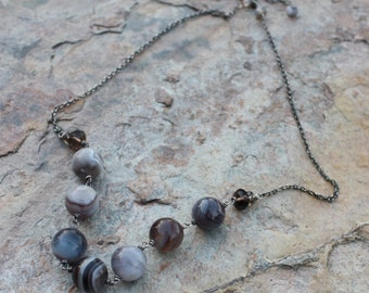 RESERVED- Reduced - BOTSWANA AGATE necklace with sterling silver with Smokey Quartz