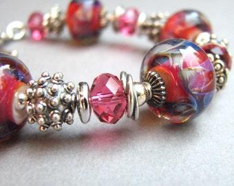 Lampwork Bracelet Fuchsia Dark Pink Blue Stripe - Loaded with Sterling Silver