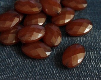 19x13mm Faceted Translucent Acrylic Flat Oval Beads - Dark Toffee - 24pcs