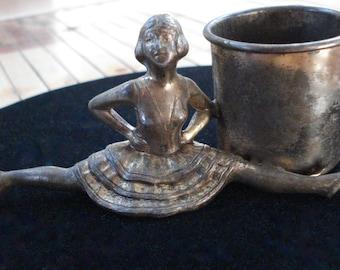 Vintage 1960s Vase Candle Holder Brass Ballerina Cheerleader Dancer 2013683