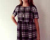 Black and white grunge dress plaid tartan checked smock style loose fitting small medium large