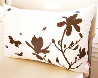 Brown Print on Off White Cotton Magnolia and Butterfies Rectangle Pillow