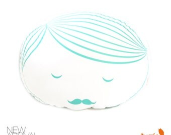 Limited Edition Guy Face Plush Pillow in Mint Green Print