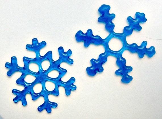 Fused Glass Turqouise Snow Flakes - Christmas Snowflakes Set of 2