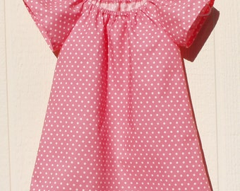 White Polka Dots on Shrimp Pink Peasant Dress, Size 6 Months
