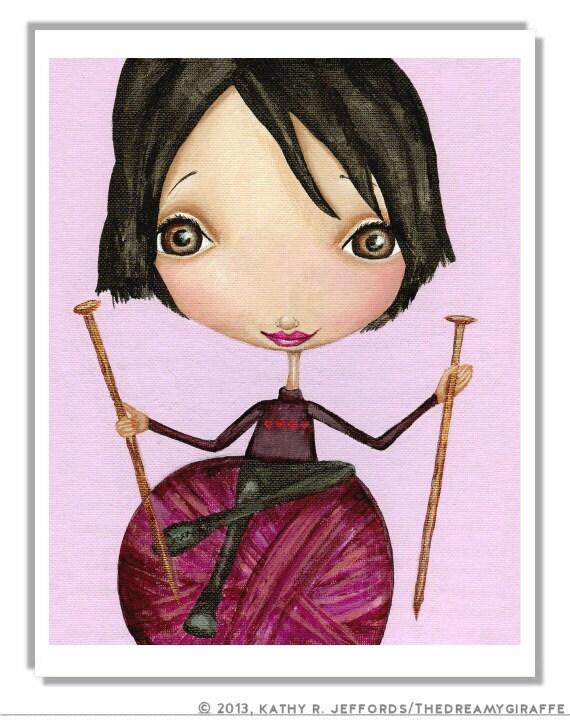 Knitting Art Print : Items similar to knitting girl art print knitter gift