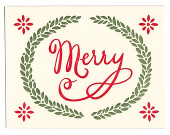 Merry letterpress holiday greeting card - blank inside, single card