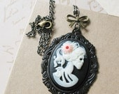 Halloween Victorian Gothic Lady Skeleton Necklace - Lenore - Love After Death - pulpsushi