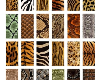 Animal Prints Domino No. 2 - 1x2 - Digital Collage Sheet - Instant Download