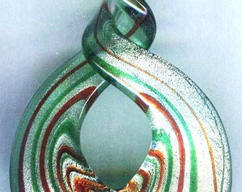 Handmade Silver Foil Twist Glass Pendant Green 64mm