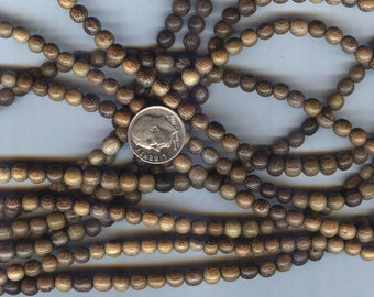 "New 4-5mm Unique Robles Round Wood Beads 16"" Strand"