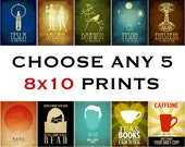 5 8x10 Prints - Science Poster, Astronomy Art, Geek Poster, Geek Chic, Reading Art, Book Lover Rock Star Scientist Art Dorm Art Office Deco