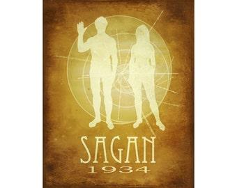 Carl Sagan 16x20 Science Poster, Astronomy Poster Art Print, Cosmic Pioneer, Astronomer Poster, Astronomer Art